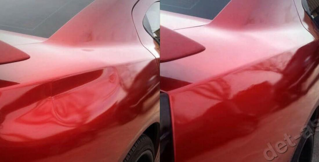 Удаление вмятин на правом заднем крыле без покраски методом PDR. Фото ДО и ПОСЛЕ