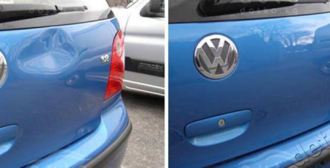 Удаление вмятин на дверце багажника без покраски методом PDR. Фото ДО и ПОСЛЕ