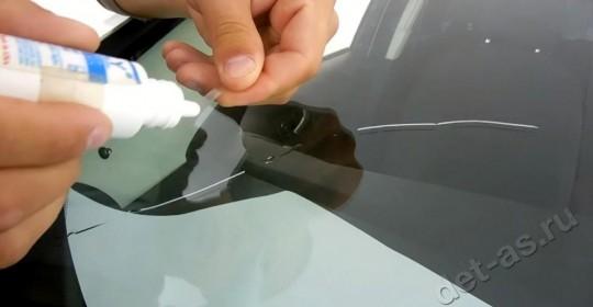 Ремонт трещины лобового стекла